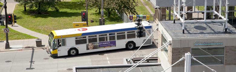 Bus Leaving Transit Station